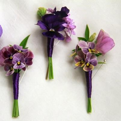 Photo: Fun purple pansy boutonnieres. Went and hand picked the blooms for my bride this weekend!