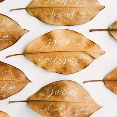 Photo: Hot on Pinterest: A few dried leaves plus white calligraphy created these cool fall escort cards http://ow.ly/dBCZn